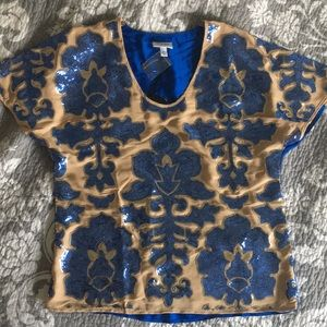 Nude/blue sequin-detailed top